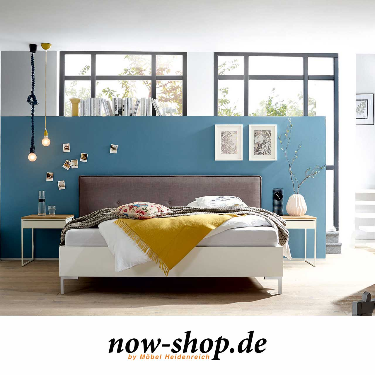 now by h lsta sleeping bett mit polsterkopfteil now shop. Black Bedroom Furniture Sets. Home Design Ideas